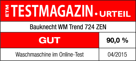 etm testmagazin 90 wertung f r waschmaschine wm trend 824 zen presse bauknecht. Black Bedroom Furniture Sets. Home Design Ideas