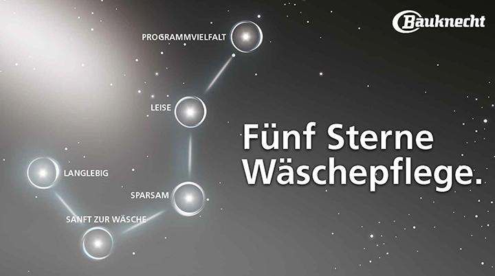 Alle Stärken auf einen Blick: Das Kampagnenmotiv der Fünf Sterne Wäschepflege von Bauknecht